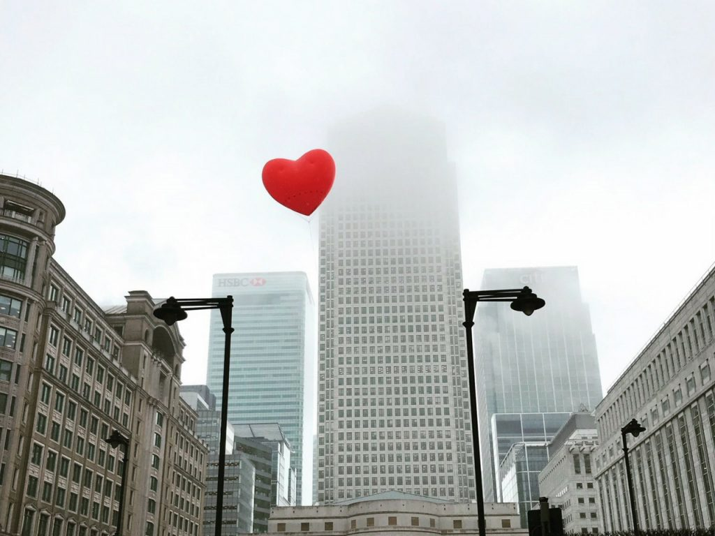 inflatable chubby heart by buildings